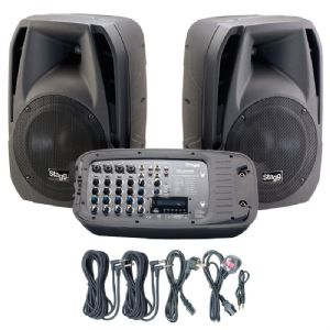 Stagg SPA-VIAGGIO 200W PA System 2 x Speaker + 8-Ch USB SD Mixer Amplifier + FX